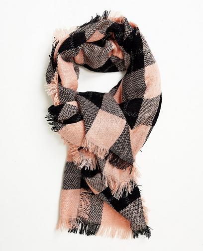 Roze-zwart geruite sjaal